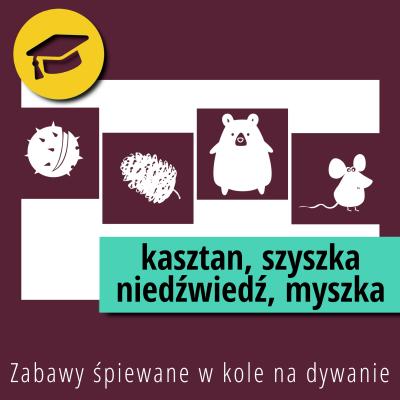 Zabawy śpiewane w kole na dywanie – Kasztan szyszka niedźwiedź myszka